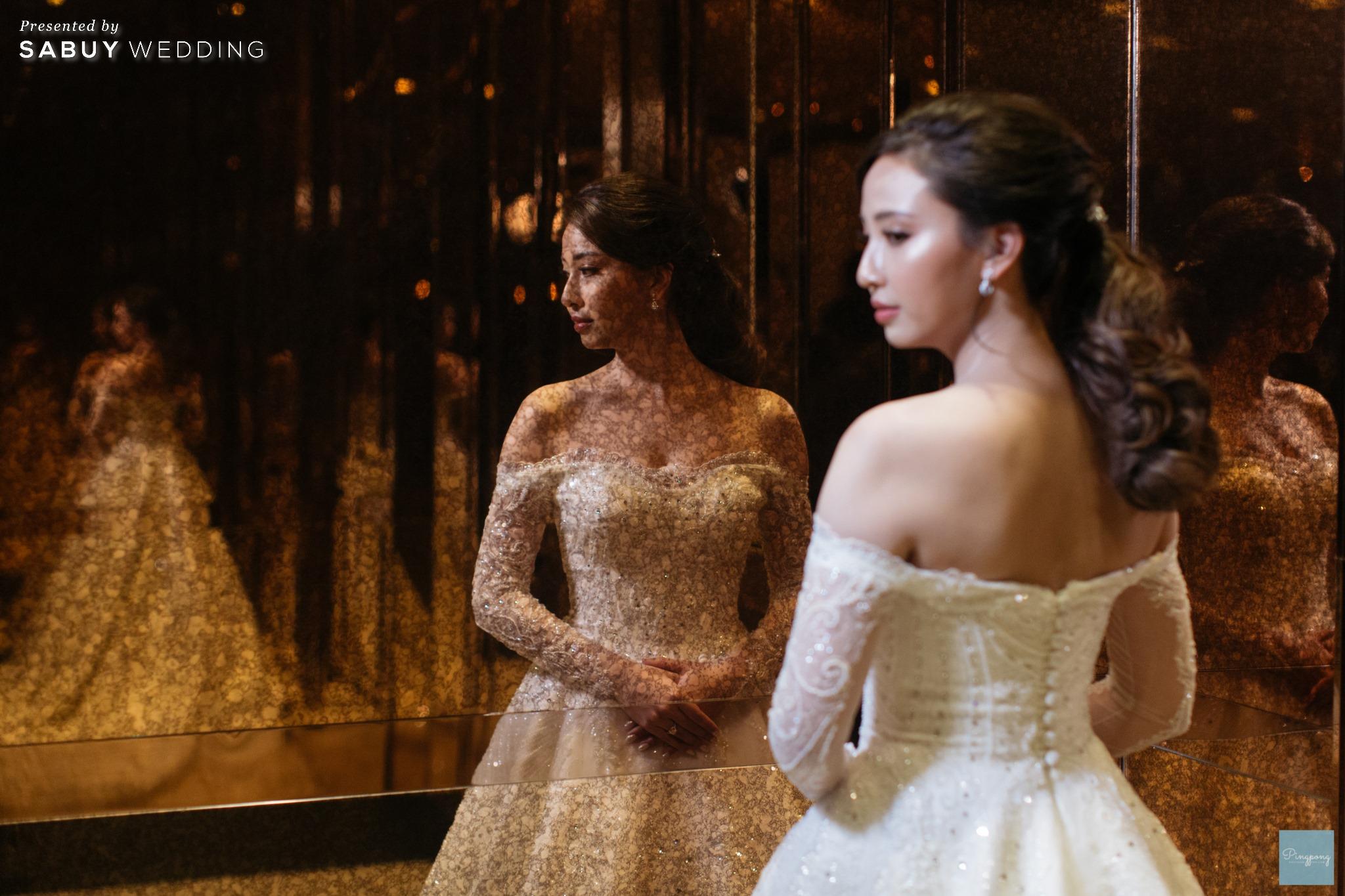 เจ้าสาว,ชุดแต่งงาน,ชุดเจ้าสาว รีวิวงานแต่งโมเดิร์นหวานละมุน อบอุ่นในโทนครีมชมพู @ Hyatt Regency Bangkok Sukhumvit