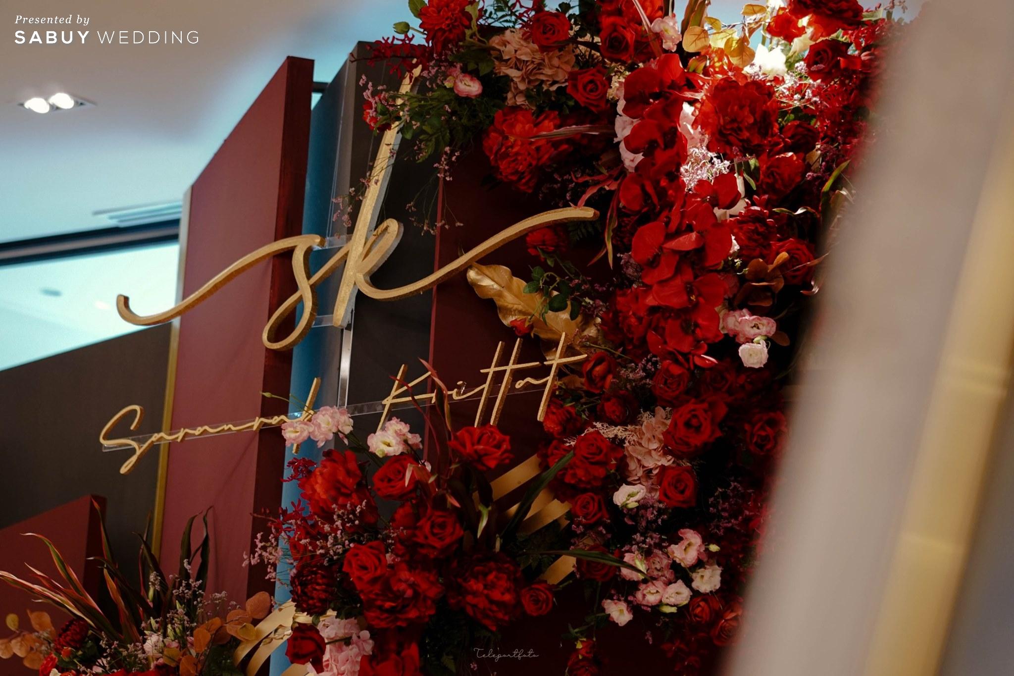 backdrop,ตกแต่งงานแต่ง,ออแกไนเซอร์ รีวิวงานแต่งสวยปังดูแพง กับโทนสี Red Burgundy @ Chatrium Hotel Riverside Bangkok