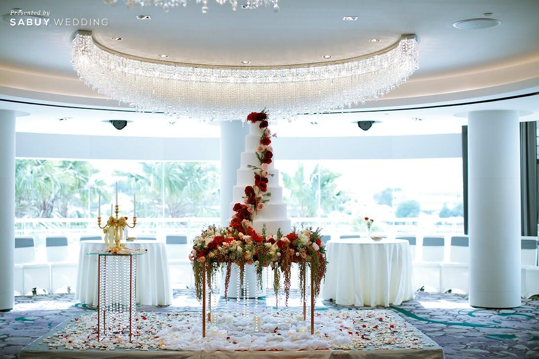 เค้กแต่งงาน รีวิวงานแต่งสวยปังดูแพง กับโทนสี Red Burgundy @ Chatrium Hotel Riverside Bangkok