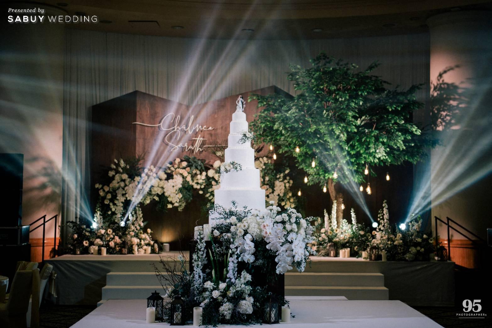 เค้กแต่งงาน รีวิวงานแต่งธีมสวนเรียบโก้ สไตล์ Elegant greenery garden @ Sheraton Grande Sukhumvit